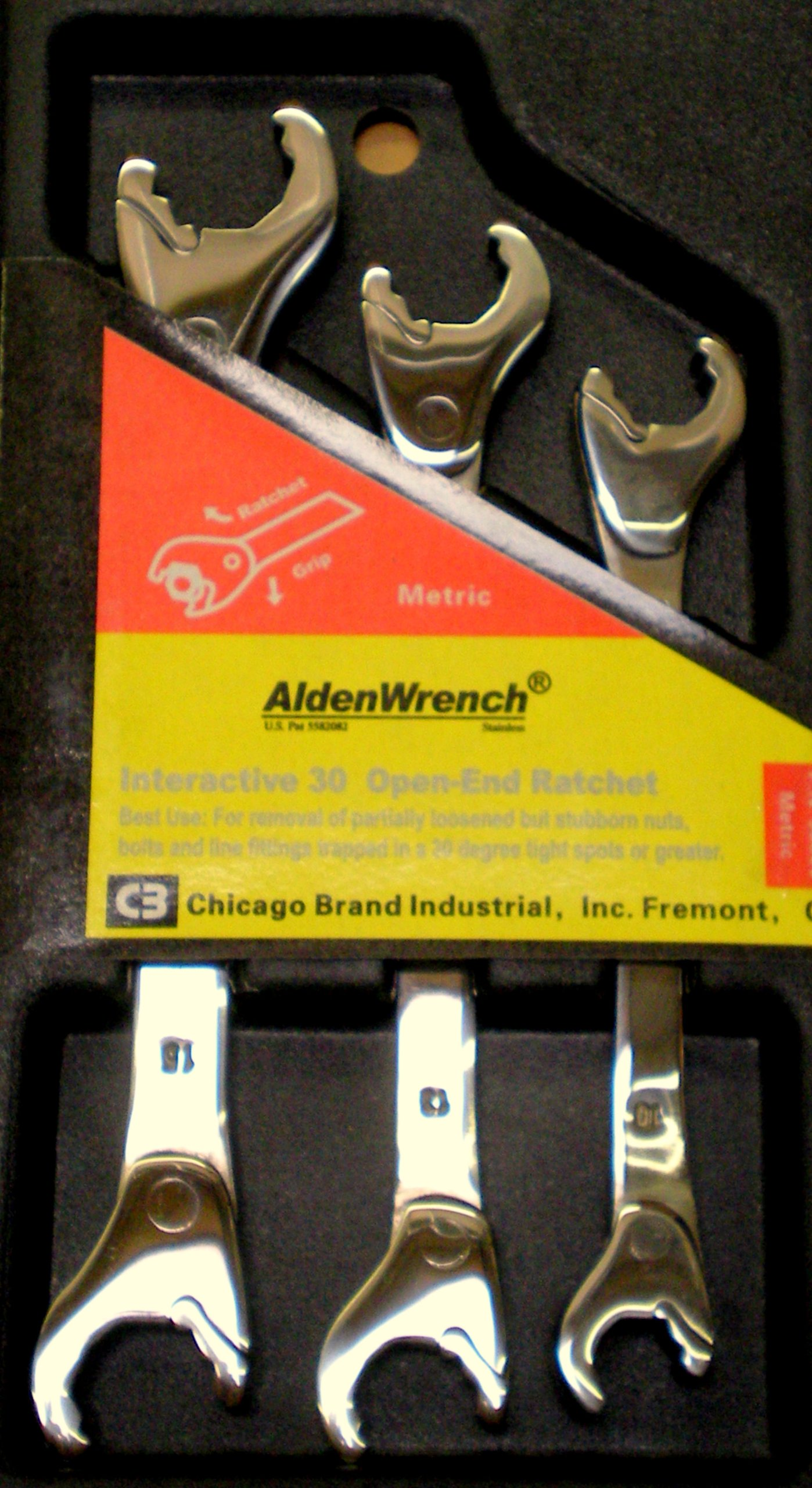 Alden Wrench 56039 Double Head Ratching Open-End Wrench 3 Piece Set Metric by Alden