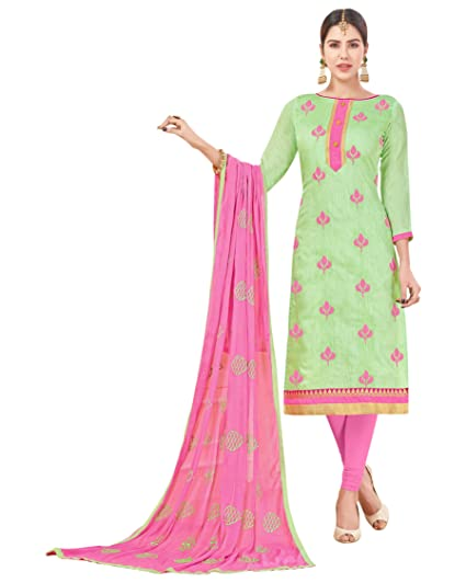Buy Luxxix Enterprise Incredible Light Green Color Embroidered Women S Girl S Chanderi Cotton Salwar Suit With Matching Bottom Dupatta Lstjnxavtr1012 2 2 At Amazon In,Mint Green Combination Color