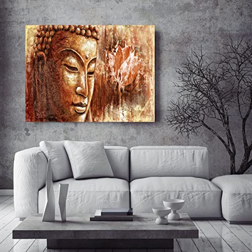 DAXIPRI Buddha Wall Art Large Modern Pure Hand Painted Framed Canvas Buddhist Oil Paintings Printed on Canvas 1 Piece Huge Panel Home Decor