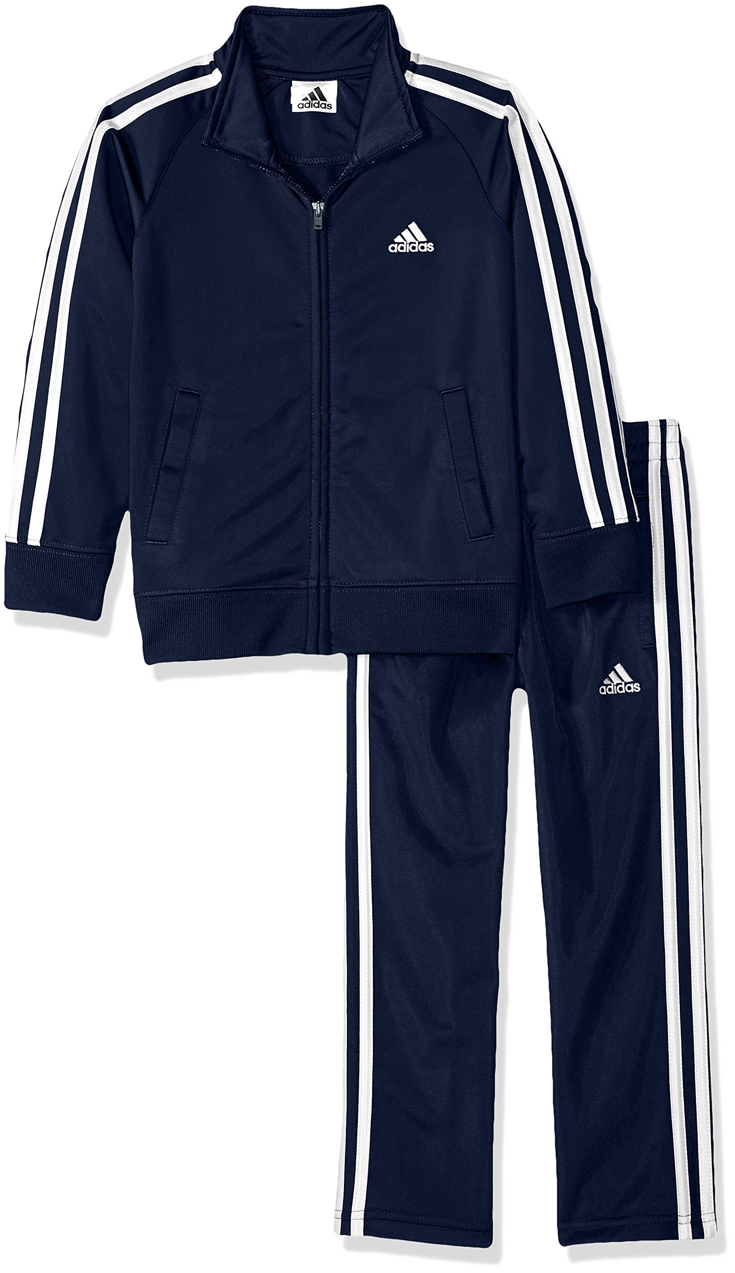 adidas Boys' Little Tricot Jacket and Pant Set, Navy/Whiteo, 7 by adidas