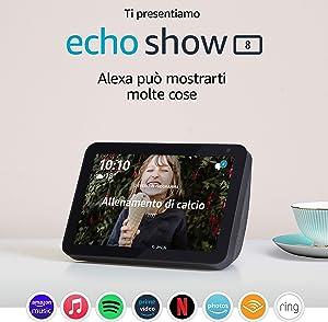 Echo Show 8 – Resta sempre in contatto con l'aiuto di Alexa - Tessuto antracite