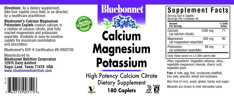 Calcio Magnesio Potasio, 180 Capsulas - Bluebonnet Nutrición: Amazon.es: Salud y cuidado personal