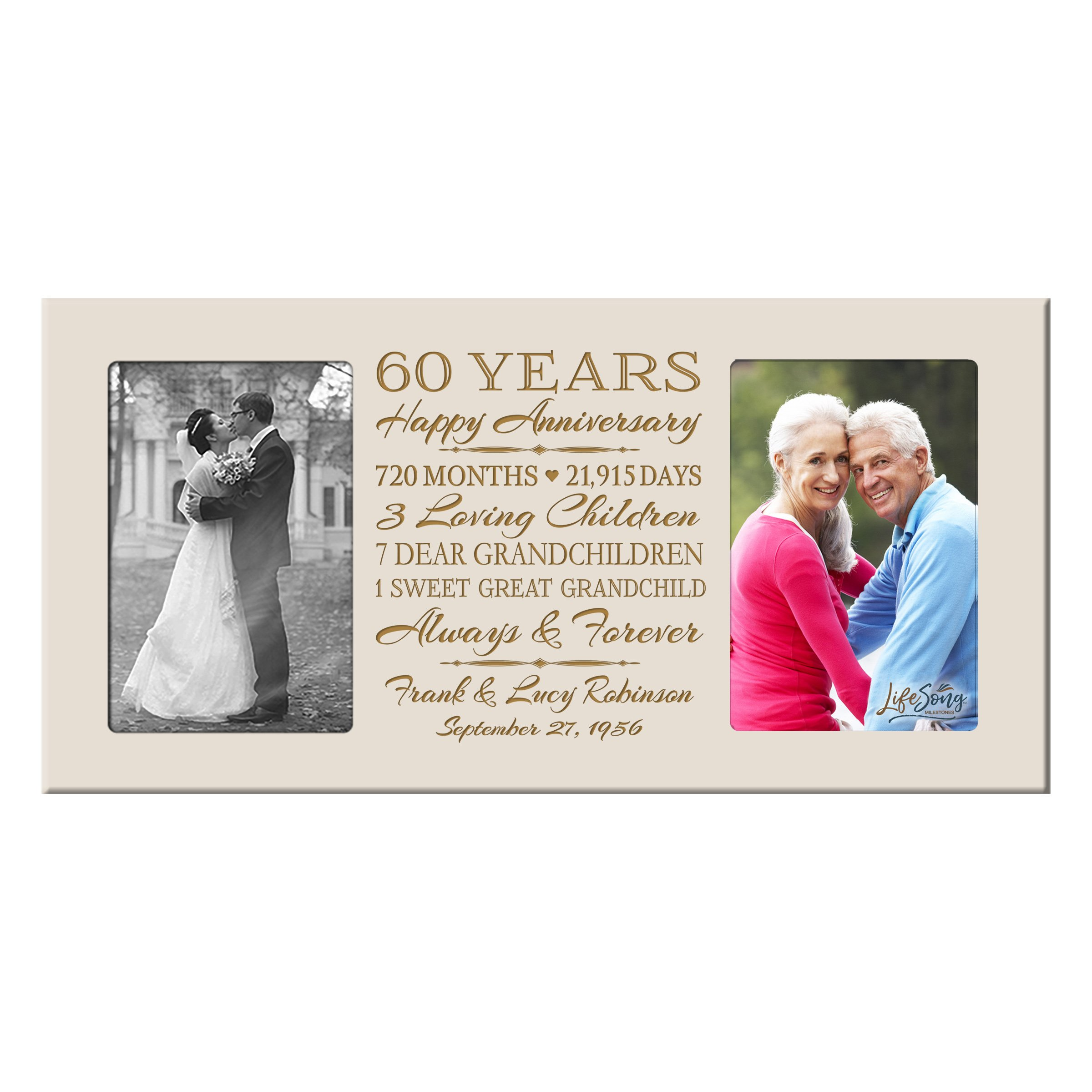 LifeSong Milestones Personalized 60 Year her him Couple Custom Engraved Wedding Celebration for Husband Wife Girlfriend Boyfriend Photo Frame Holds Two 4x6 Photos (Ivory)