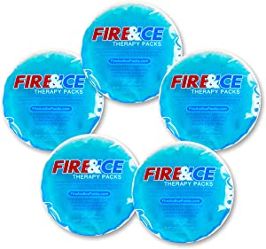 Fire & Ice Hot Cold Gel Packs—5 Reusable Therapy Pads-Use Microwave Hot or Freezer Cold for Injuries, Arthritis Pain, Tired Eyes, Child Boo Boos. Place in Lunch Boxes and Coolers to Keep Food Fresh