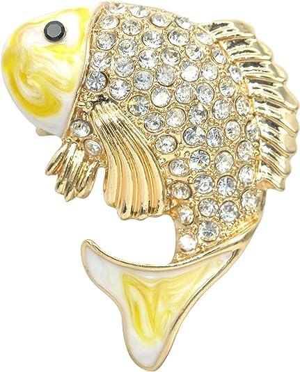 Crystal Rhinestone Enamel Fish Brooch Pin Wedding Bridal Bouquet Fashion Jewelry