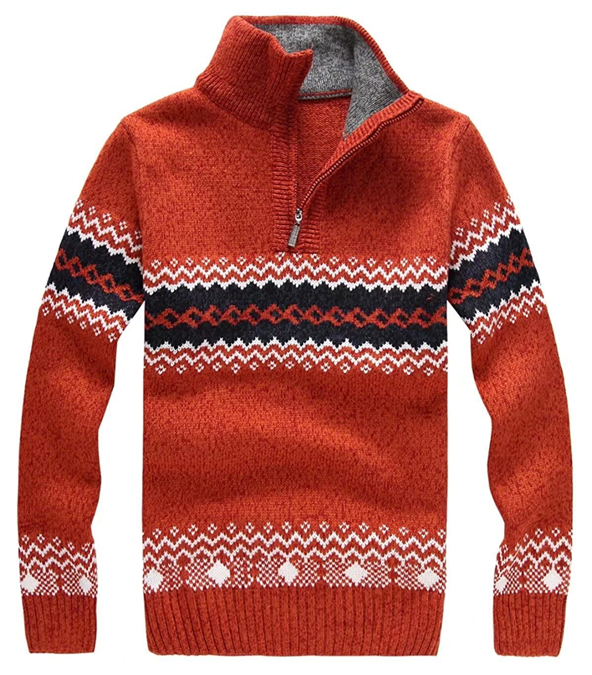 EMAOR Mens Stylish Quarter Zip Knit Sweaters Pullover