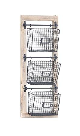 Deco 79 58644 Basket Wall Rack, Black Brown