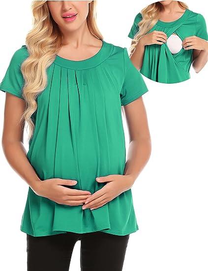 zhenwei Camiseta para Amamantar T-Shirt para Lactancia Camiseta de Mujer para Maternidad: Amazon.es: Ropa y accesorios