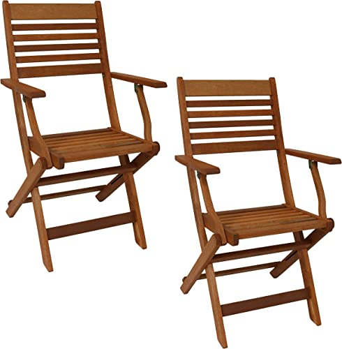 Sunnydaze Meranti Wood Outdoor Folding Patio Armchairs – Set of 2 – Outside Wooden Bistro Furniture for Lawn, Deck, Balcony, Garden and Porch – Teak Oil Finish