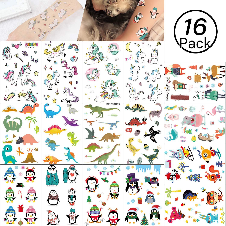 Yolistar Tatuaggi temporanei per Bambini, 16 Foglio 4 Style Falso Tatuaggio Tattoos Adesivi per Bambini Festa di Compleanno Sacchetti Regalo Giocattolo, Animale, Unicorno, Pinguino, Dinosauro Yolistar co. LTD