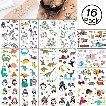 Yolistar Tatuajes Temporales para Niños Niñas, 16 Conjunto 4 ...