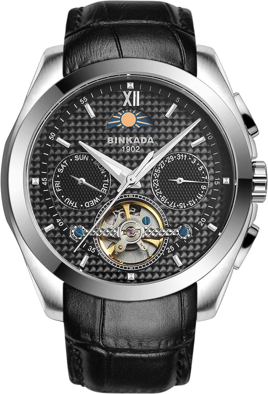 BINKADA 5ポインタ自動機械ブラックダイヤルメンズ腕時計# 7033l02 – 2 B01DZMFLSU