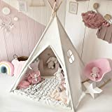 Kids Teepee Children Play Tent with Mat & Carry Case for Indoor Outdoor Raw White Canvas by Tiny Land