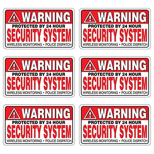 6 Pack WARNING Security System Stickers LAMINATED #FS031 Home Alarm Decal Vinyl Window