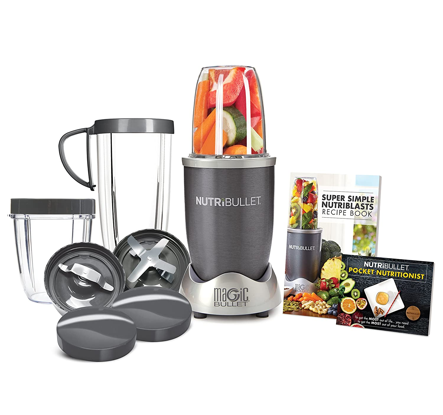 Amazon.com: NutriBullet NBR-1201 12-Piece High-Speed Blender/Mixer System,  Gray (600 Watts): Electric Countertop Blenders: Kitchen & Dining