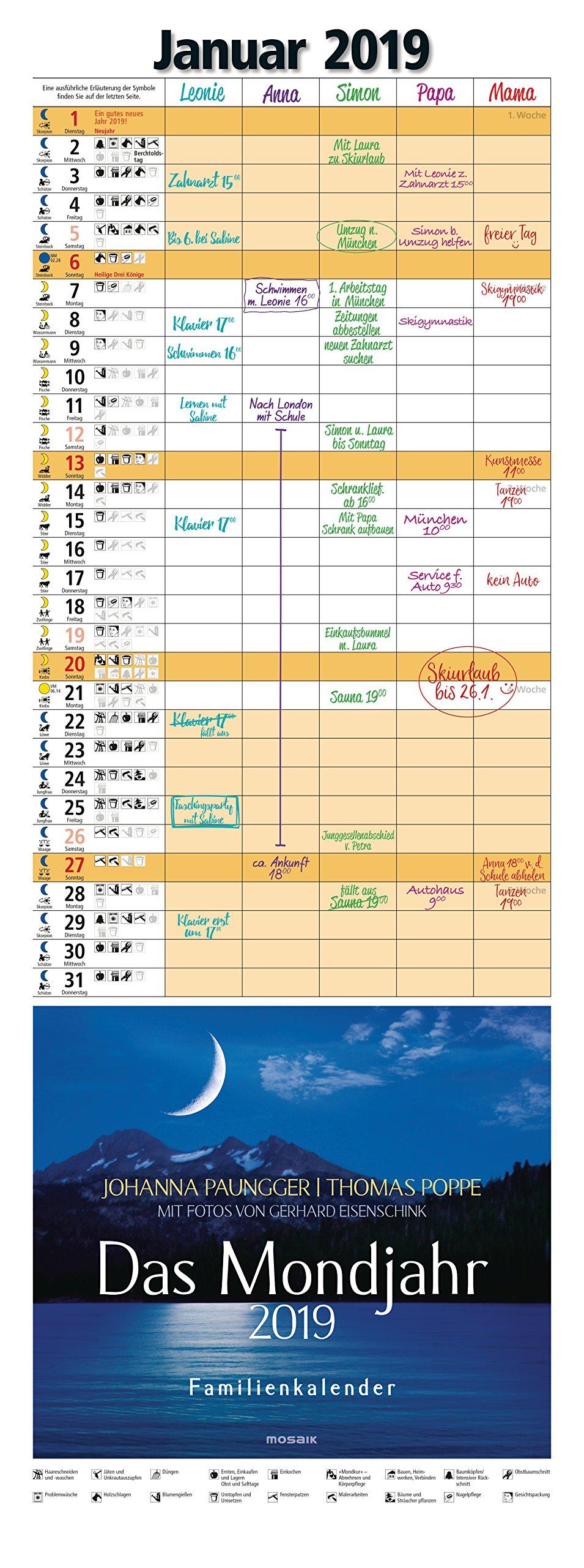 Das Mondjahr 2019: Familienkalender - Mit Fotos von Gerhard Eisenschink - Das Original Kalender – Wandkalender, 4. Juni 2018 Johanna Paungger Thomas Poppe Mosaik 3442319021