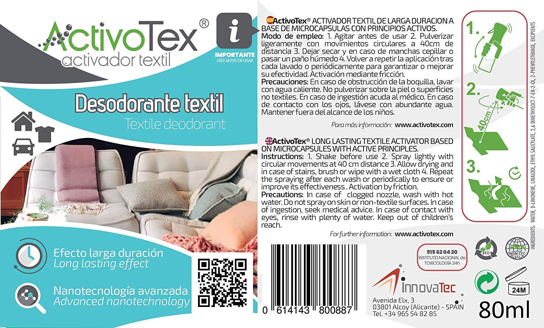 Ambientador Perfumador para ropa y tejidos. Innovación Mundial a base de Microcápsulas de larga duración - Olor Suavizante (80 ml)