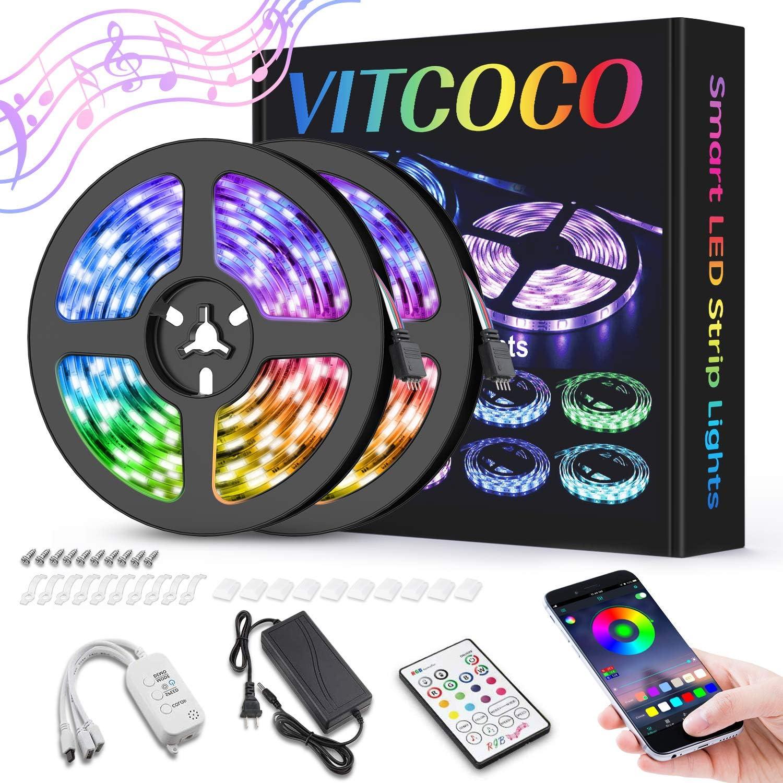 10M Bluetooth Tira LED, VITCOCO Tira LED 5050 RGB 10M(2×5M) de Impermeable Flexibles Multicolor 300 LEDs Strip Con Mando a Distancia y Adaptador Corriente Para TV/Fiestas: Amazon.es: Iluminación