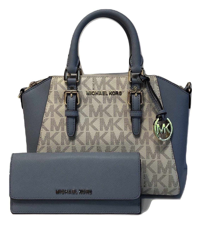 Michael Kors Ciara MD Messenger Handbag bundled with Michael Kors Jet Set Travel Flat Wallet (Signature Vanilla/Pale Blue)