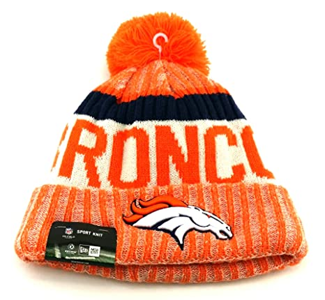 fb429f00518 Image Unavailable. Image not available for. Color  New Era Knit Denver  Broncos Black On Field Sideline Winter Stocking Beanie Pom Hat Cap 2015