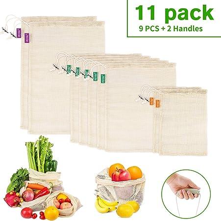 PEYOU 11 PCS Bolsas Reutilizables Algodón, 9 PCS Bolsas de Malla Lavables Transpirables con 2 Asa Mango, Bolsas Reutilizables Compra de Fruta,Vegetales y Juguetes: Amazon.es: Hogar