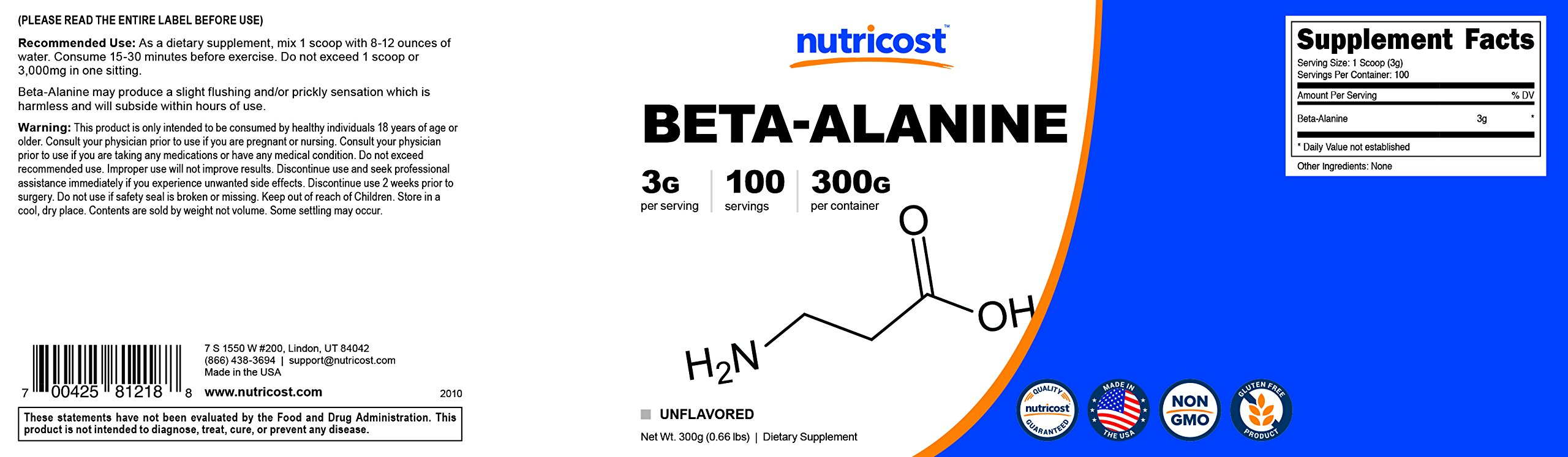 Nutricost Beta Alanine Powder 300 Grams - 3 Grams Per Serving by Nutricost (Image #6)