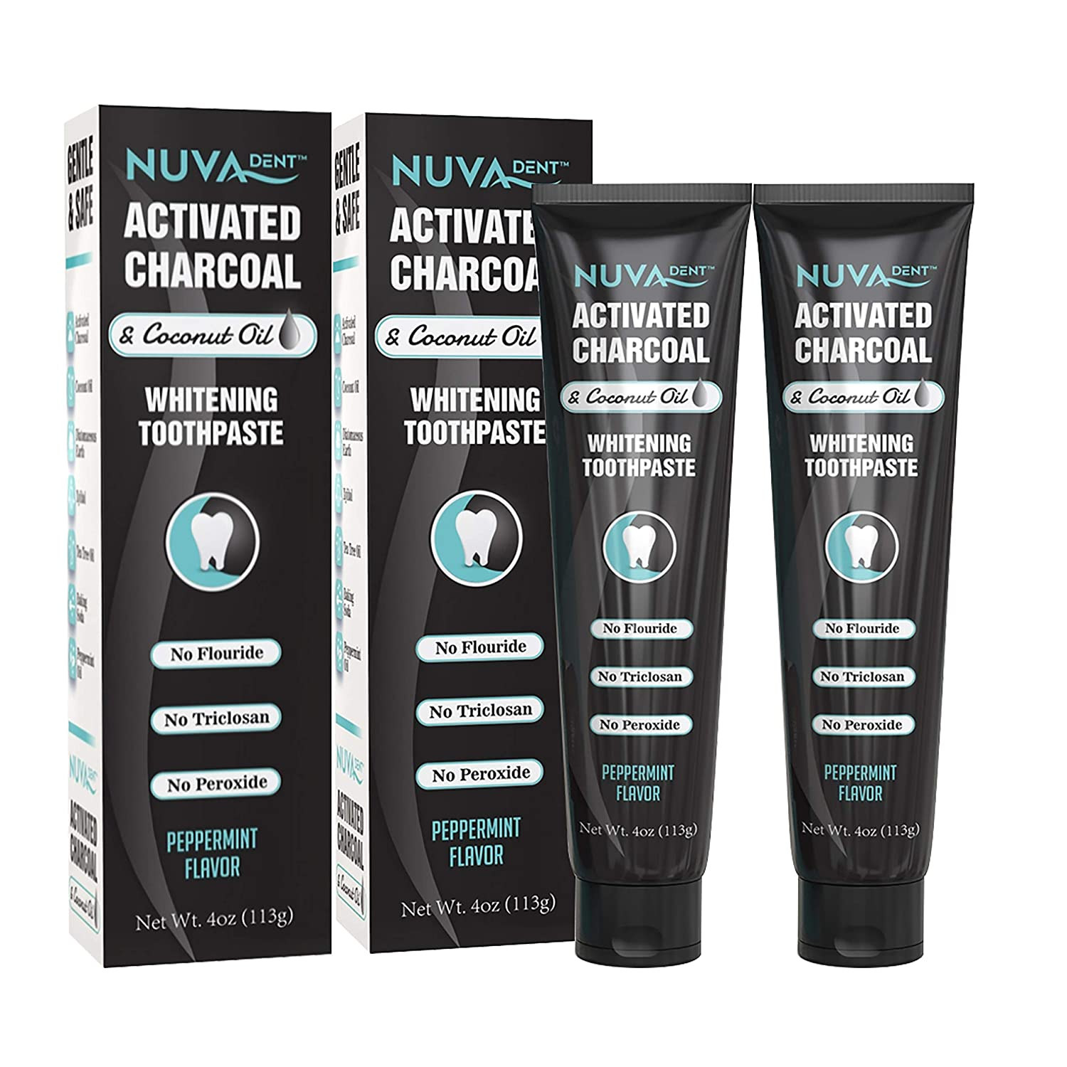 Amazon Com Nuva Dent Activated Charcoal Toothpaste W Coconut Oil