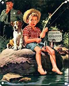 Vintage Tin Poster 1950s Trouble Brewing Boy Fishing Metal Tin Sign 8x12 Inch Retro Home Kitchen Office Garden Garage Wall Decor Tin Plaque New