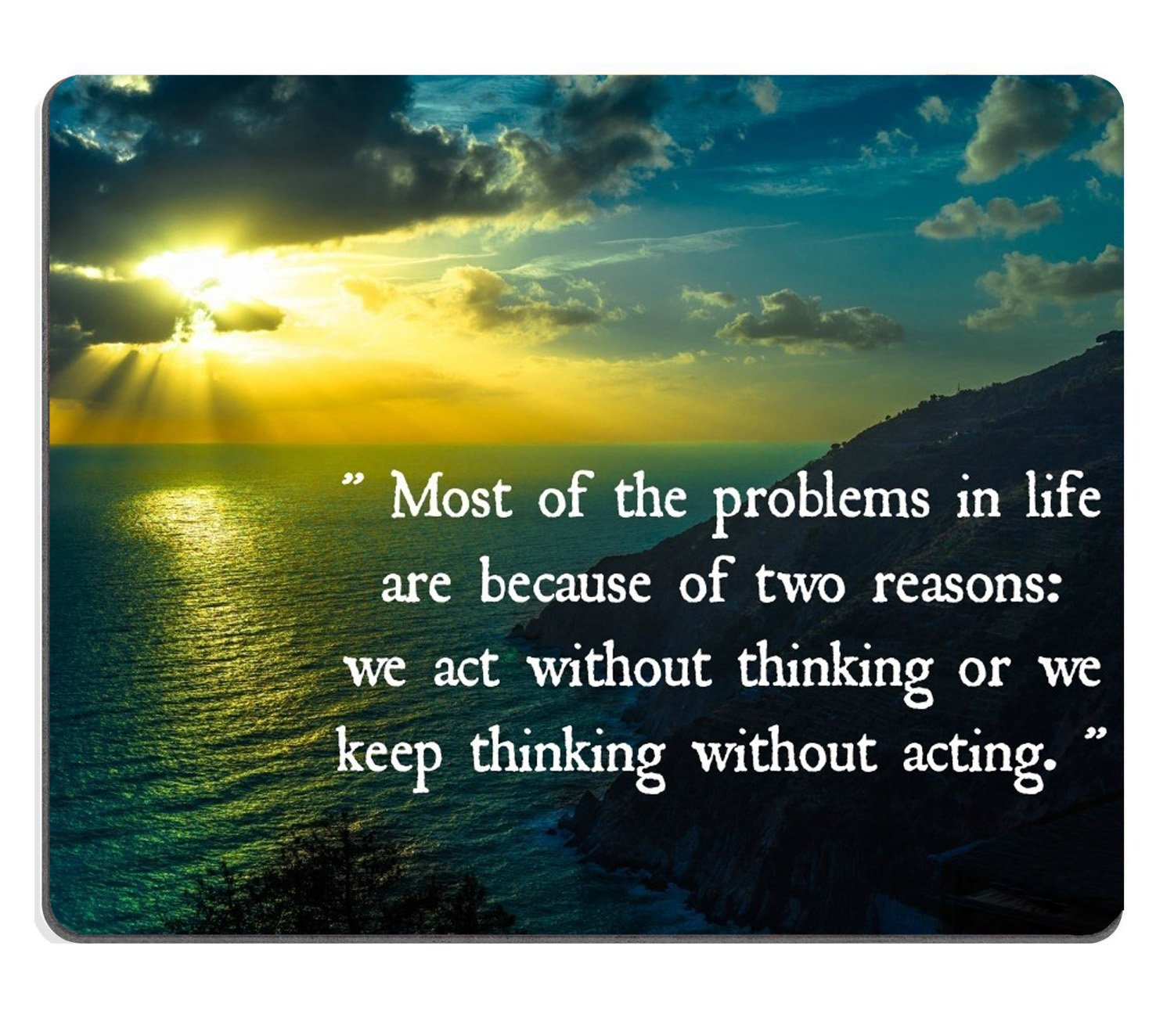 Wknoon Custom Gaming Mouse Pad Sunset Life Thoughts Sunrise Quotes
