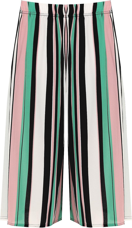 WearAll Femmes /Étendue /Élev/é Taille Large Jambe Multi Ray/é Imprimer Culottes Dames Short 40-54