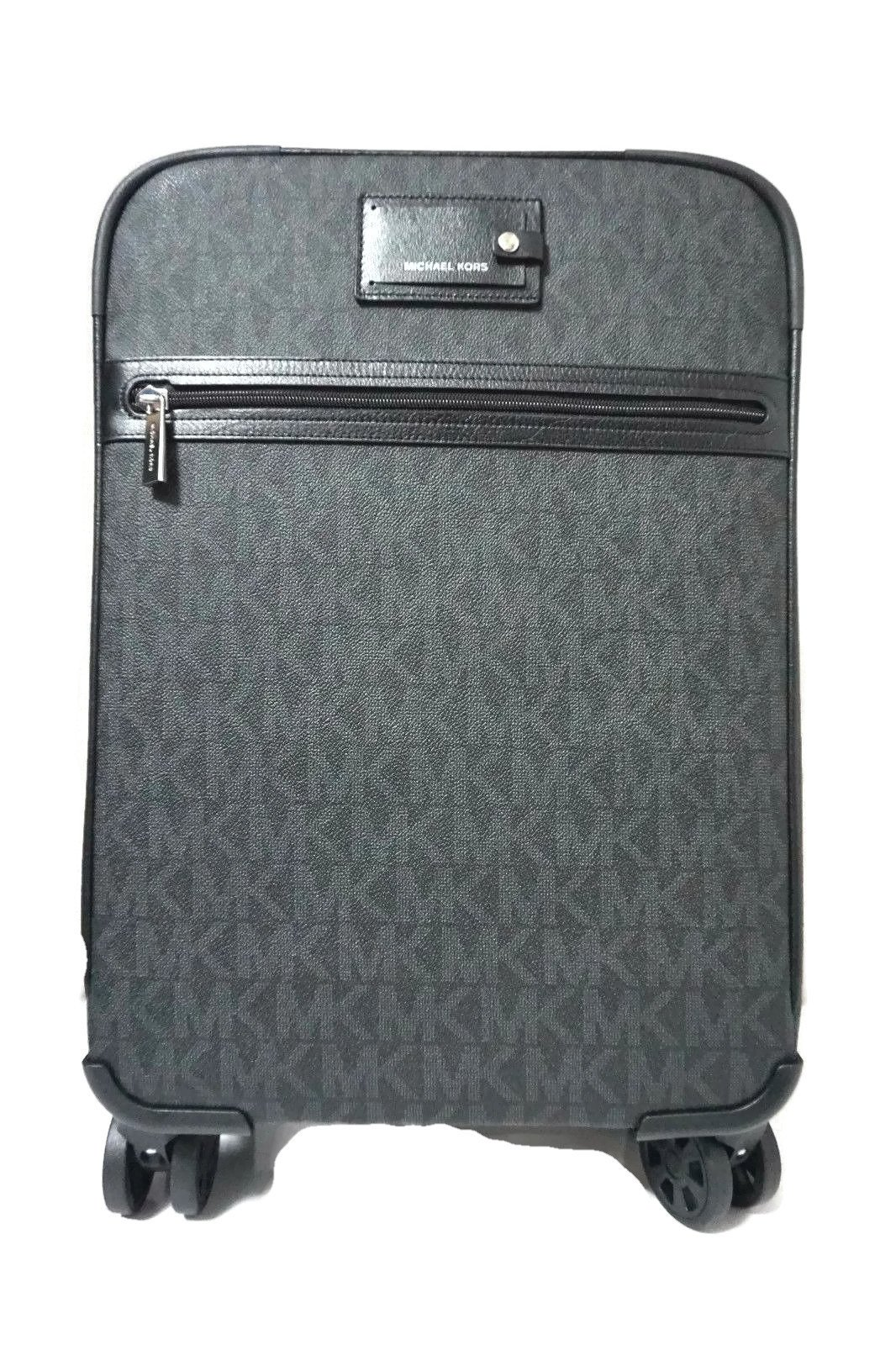 Michael Kors Signature Travel Trolley Rolling Carry On Suitcase (Black)