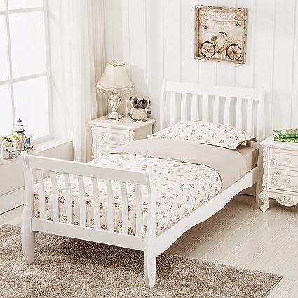 mecor Wooden Single Bed Frames 3ft for Kids Childrens bedroom Furniture  White