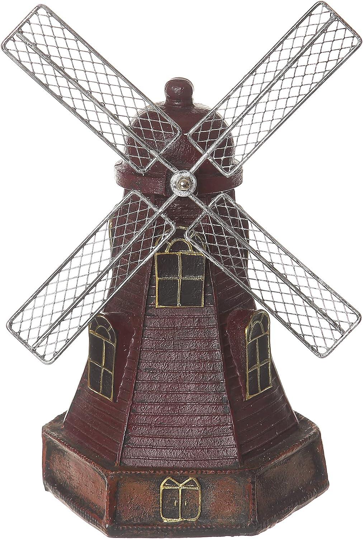 Creative Retro Home Decor Dutch Windmill Statue Handmade Resin Crafts(Windmill-red)