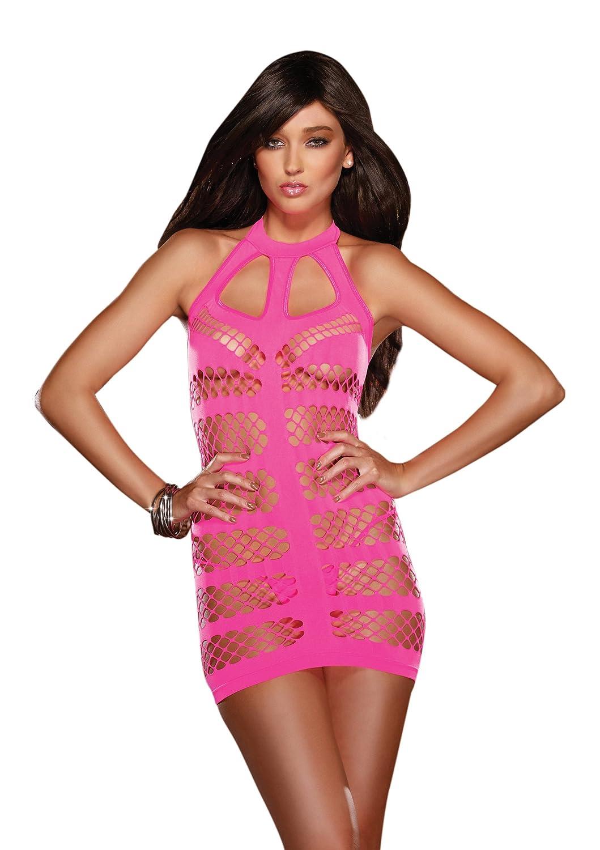 Dreamgirl Women's Midnight Express Opaque And Diamond Net Seamless Dress & Thong Neon Pink One Size Dreamgirl International 8697