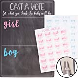 Juvale Baby Gender Reveal Board with Stand and Voting Stickers, Chalkboard Design