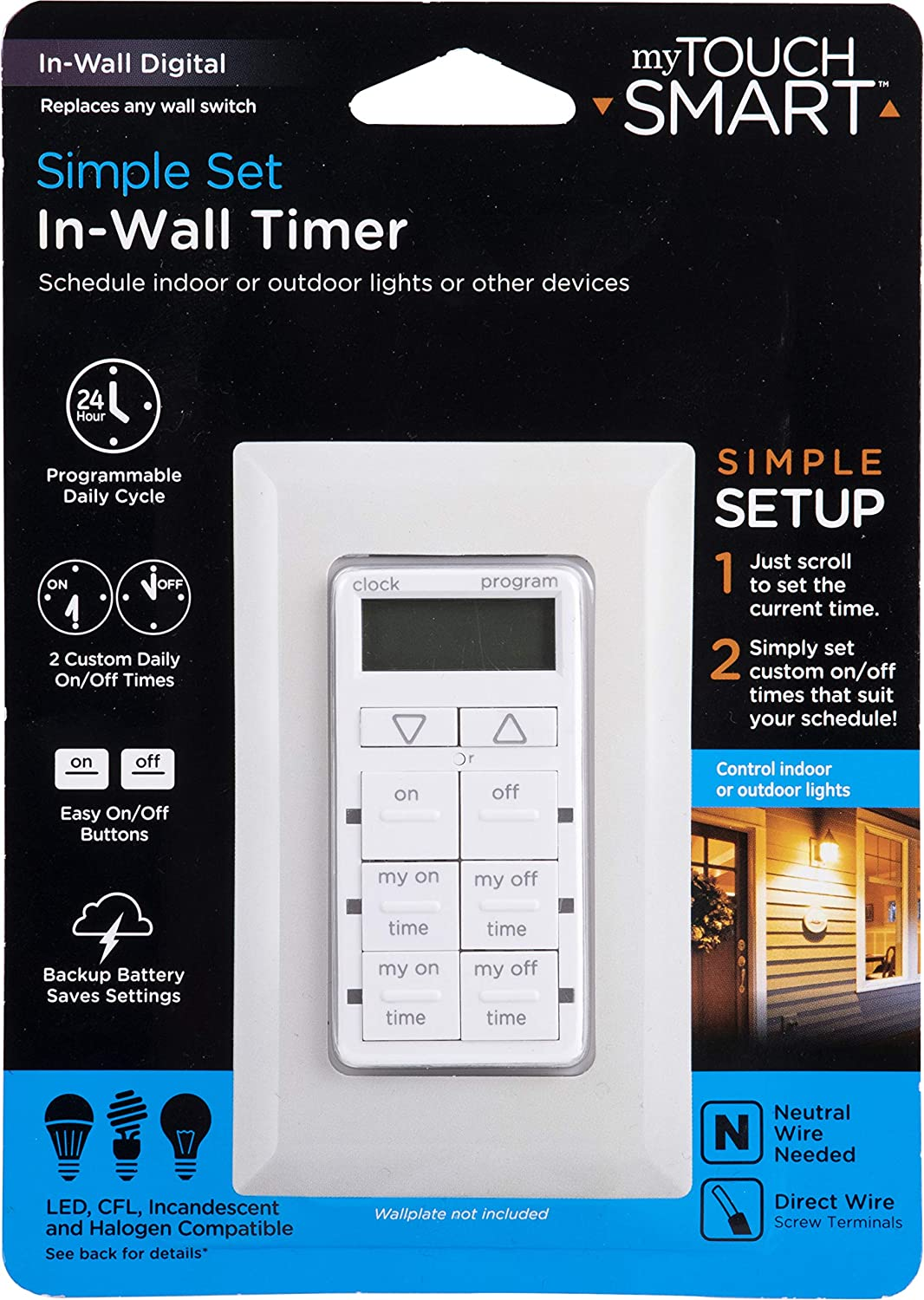 myTouchSmart In-Wall Digital Timer, 4 Programmable On/Off Buttons, 2 Easy On/Off Buttons, 24 Hour Daily Cycles, Blue LED Indicators, with Battery Backup, for Indoor/Outdoor Lights, Fans, 26893 - -