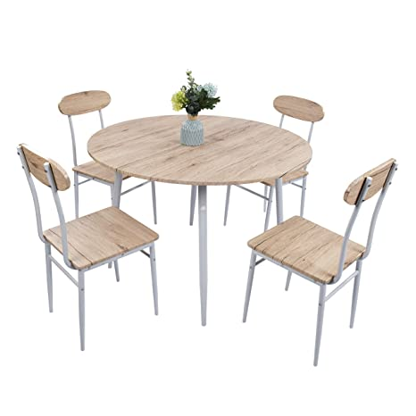 Dporticus 5 Piece Round Dining Set Country Style Kitchen Table And Chairs With Metal Legs Warm In White