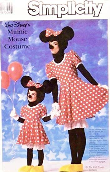 Simplicity 7730 Walt Disneyu0027s Minnie Mouse Costume Sewing Pattern Adult Size Small 32-24 Vintage & Amazon.com: Simplicity 7730 Walt Disneyu0027s Minnie Mouse Costume ...