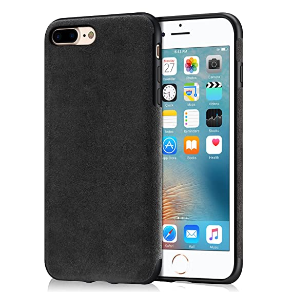 new concept ce04d 238e8 Mthinkor iPhone 7 Plus Case iPhone 8 Plus Case Luxury Slim Case Made of  Alcantara Material Compatible with iPhone 7 Plus and iPhone 8 Plus (Black)