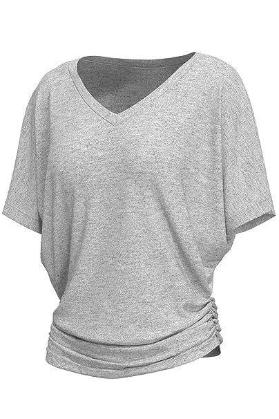 01b63a2d6e9 cokuco 7007 Womens V Neck Short Sleeve Dolman Top Side Shrring H.Grey 4X-