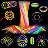 Attikee 840 PCS Glow Sticks Bulk, Glow Party Favors, 8 Inch 7 Colors 400PCS Glow Sticks & 440PCS Connectors for Eyeglasses Ba