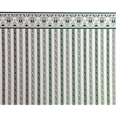 Melody Jane Dolls Houses House Miniature Print 1:12 Scale Green White Regency Stripe Wallpaper: Toys & Games