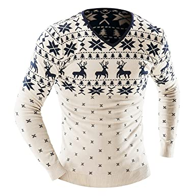 Yuzhongywan Men Christmas Sweater Jumper V Neck Deer Pattern Slim