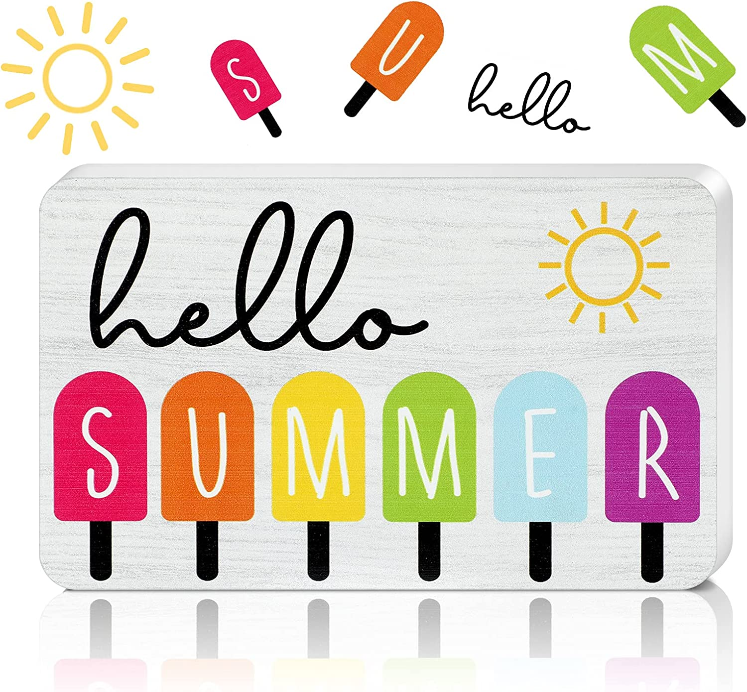Hello Summer with Popsicles Sign Wooden Hello Summer Sign Block Decor Rustic Hello Summer Wooden Sign for Tiered Tray Decor Home Indoor and Outdoor, 5.5 x 3.3 Inch