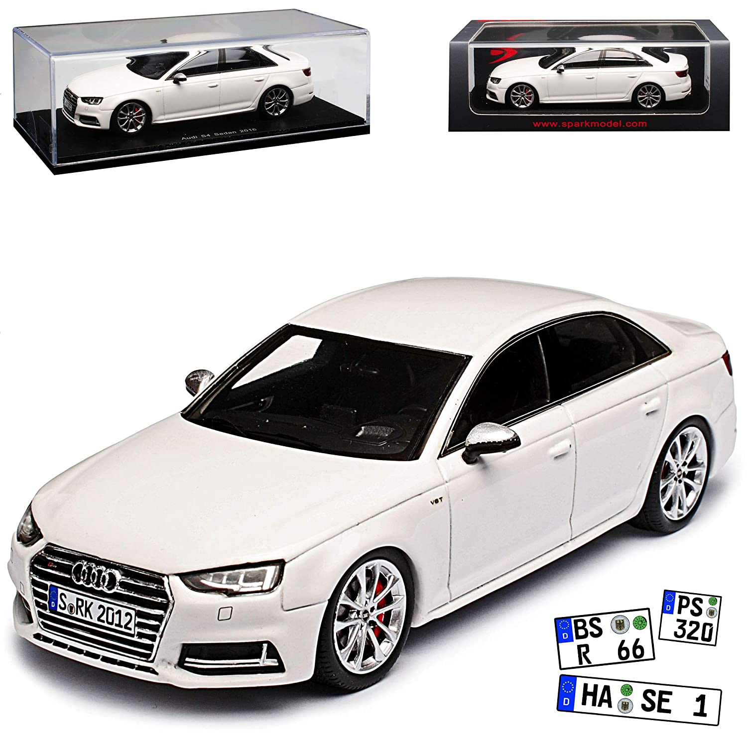 Spark Audi A4 S4 B9 Limousine Weiss 5. Generation Ab 2015 1/43 Modell Auto