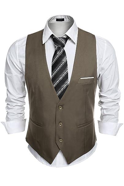 Amazon.com: gotchicon chaleco de hombre Casual botón abajo ...
