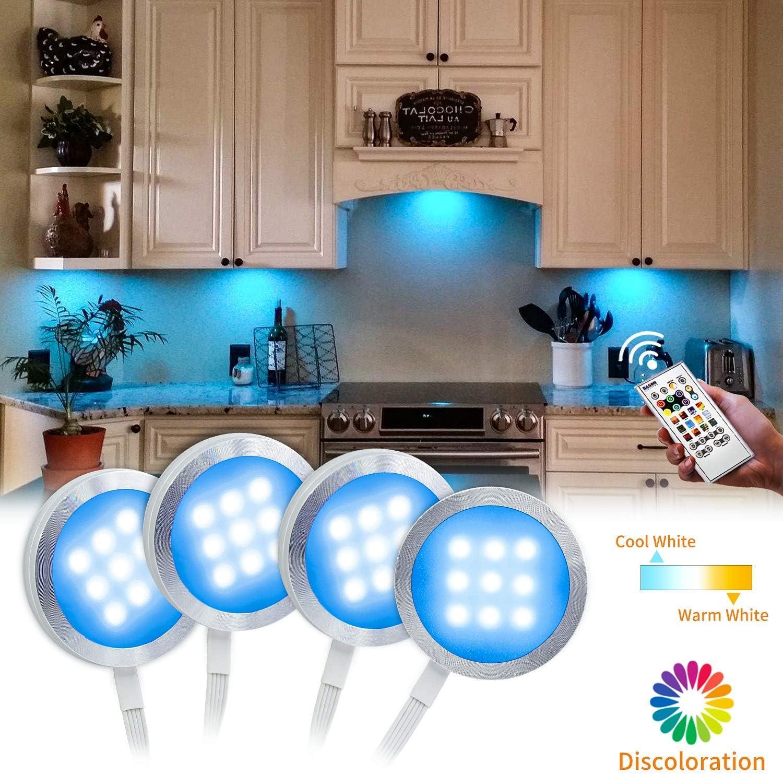 Under Cabinet Lighting Kit- Bason Color Changing Puck Lights Aluminum RGBW Cabinet Kitchen Lighting for Kitchen Shelf Decoration,Color DIY Timing Function with Remote Control