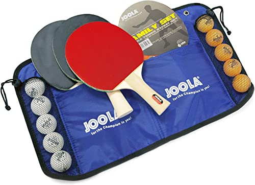 JOOLA Family Premium Table Tennis Bundle Set – 4 Regulation Ping Pong Paddles, 10 Training 40mm Ping Pong Balls, and Carrying Case – For Training and Recreational Play – Indoor and Outdoor Compatible