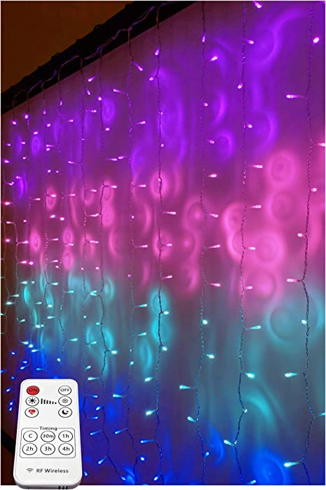 Something Unicorn - Purple Ombre LED String Curtain Lights with Remote for Teen Room, Girls Room, College Dorm, Nursery and Kids Room Décor. Perfect for Mermaid Decoration.(Premium Version)