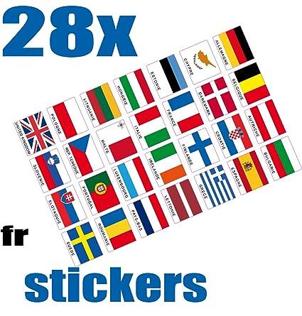 Safirmes 28 Adesivi Paesi D Europa Dei 28 Con Il Nome Versione Fr